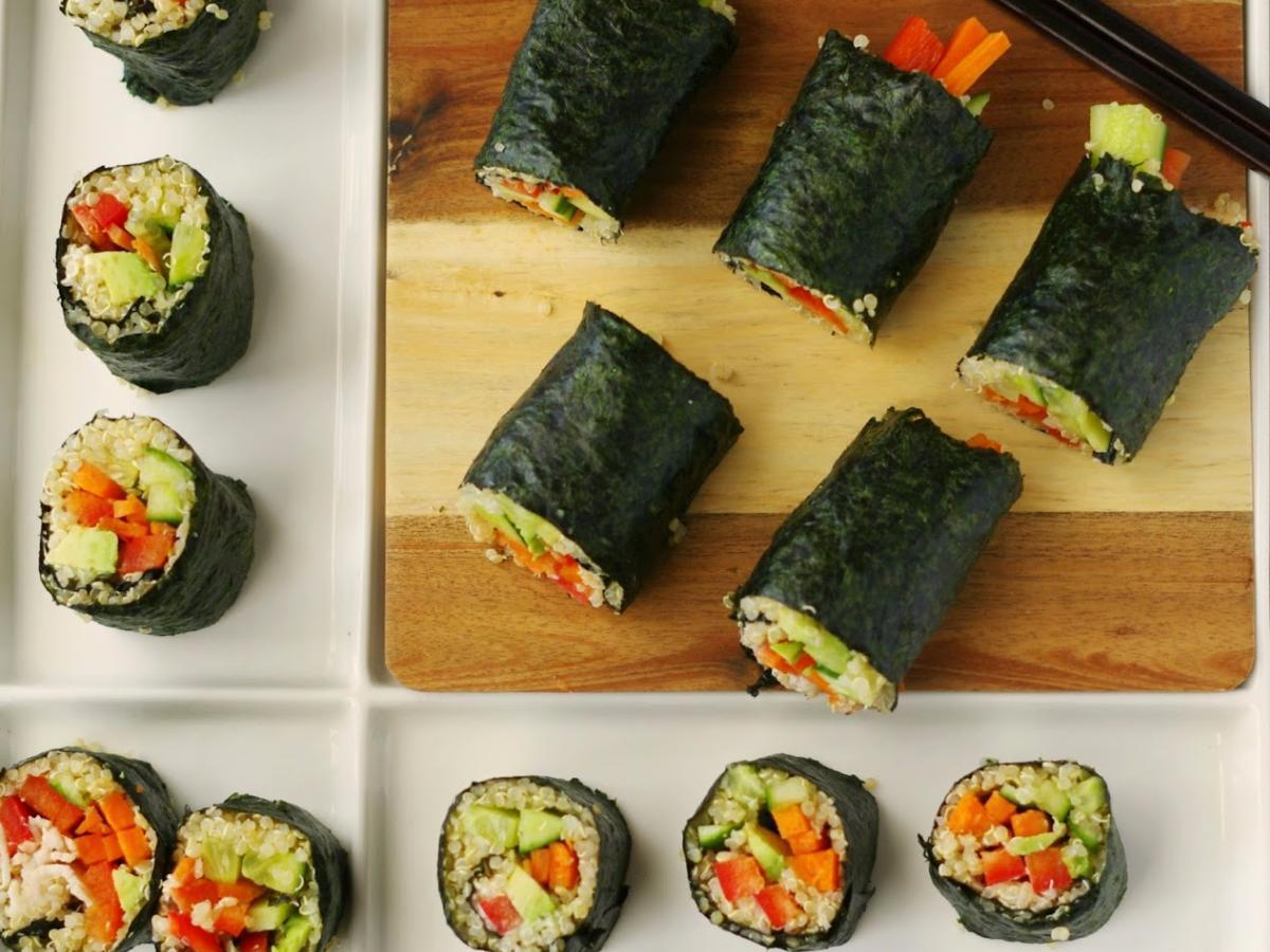 Nori Rolls with Salmon and Veggies Healthy Recipe