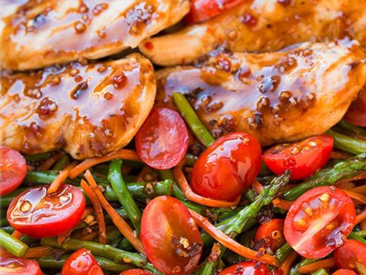 One Pan Balsamic Chicken and Veggies Healthy Recipe