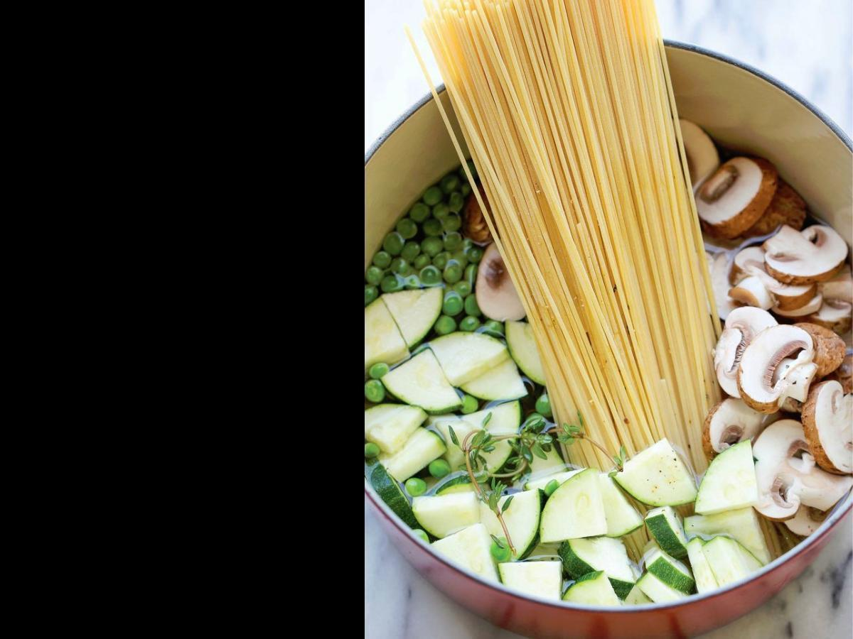 One Pot Shrimp and Veggie Pesto Pasta Healthy Recipe