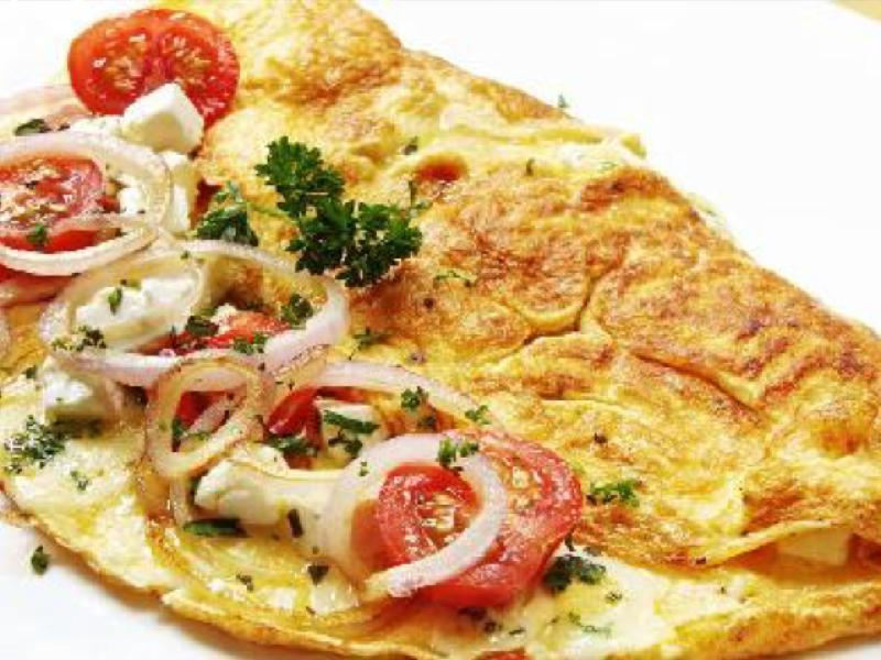 Onion and Tomato Omelet Healthy Recipe