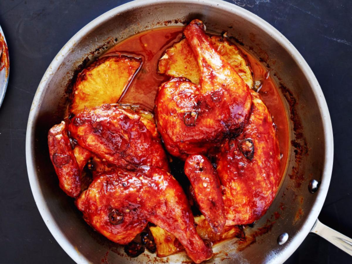 Pan-Roasted Chicken with Pineapple-Chile Glaze Healthy Recipe