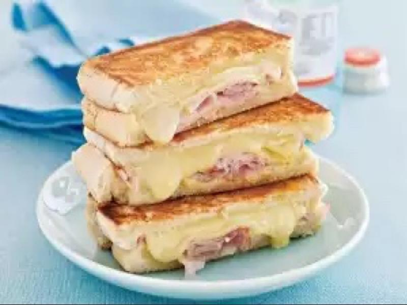 Pan-toasted Mustard, Ham, and Cheese Sandwich Healthy Recipe