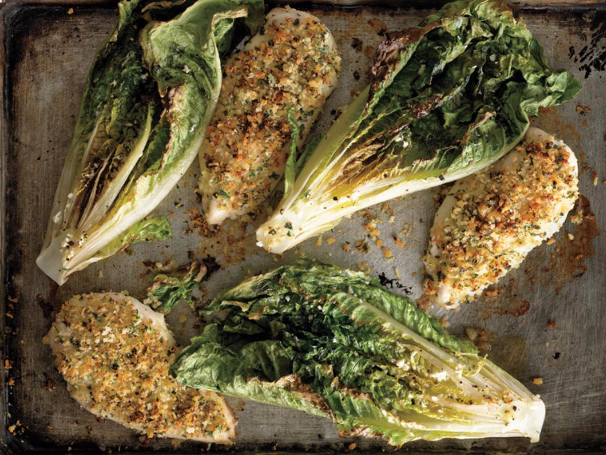 Parmesan Chicken with Caesar Roasted Romaine Healthy Recipe