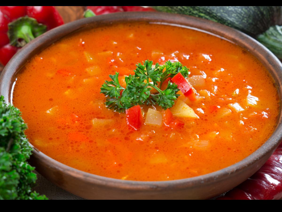 Peach and Tomato Gazpacho Healthy Recipe