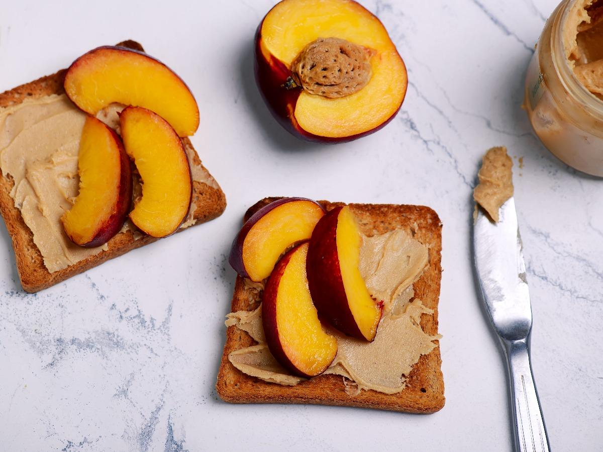 Peaches and Almond Butter on Toast Healthy Recipe