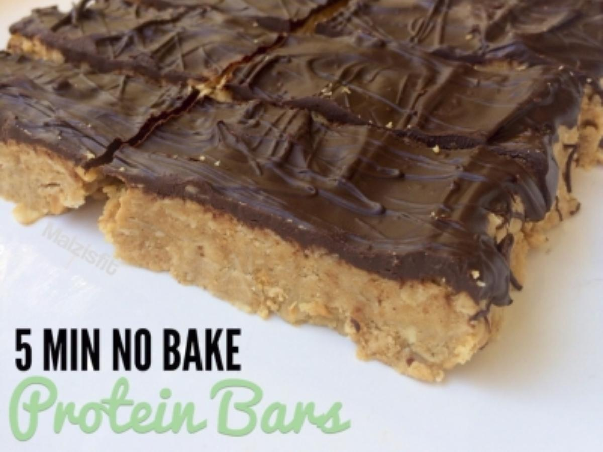 Peanut Butter and Oat No Bake Protein Bar Healthy Recipe