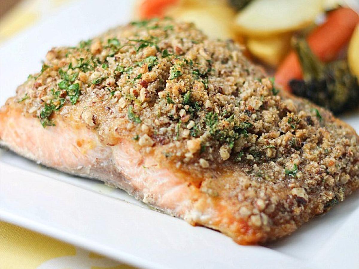Pecan Crusted Honey-Mustard Salmon Healthy Recipe