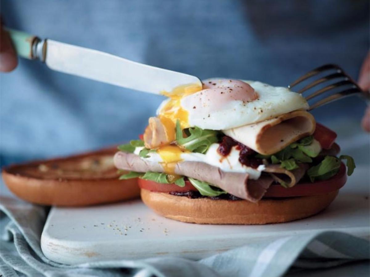 Poached Egg, Turkey, and Roast Beef Bagel Breakfast Sandwich Healthy Recipe