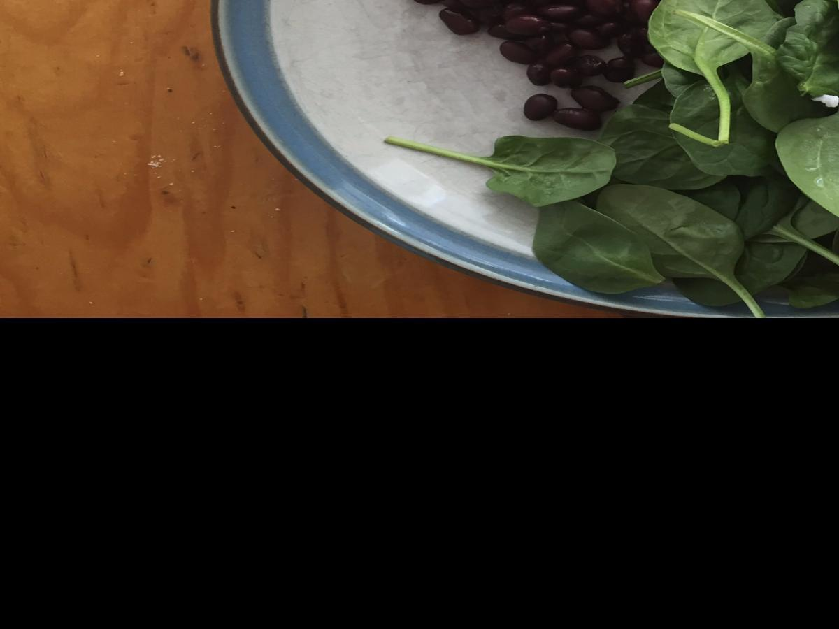 Poached Eggs with Black Beans and Spinach Healthy Recipe