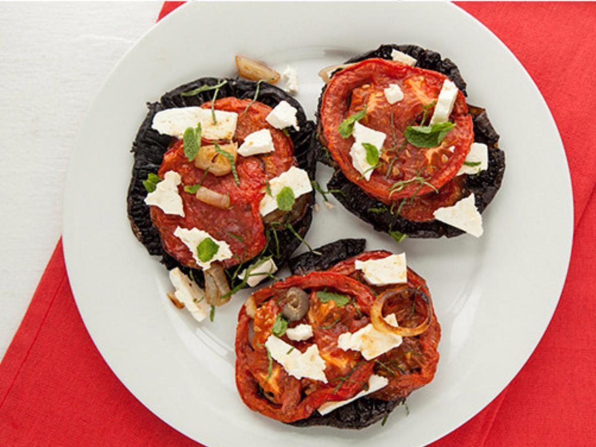 Portobello Mushroom Caps with Feta, Tomato, and Mint Healthy Recipe