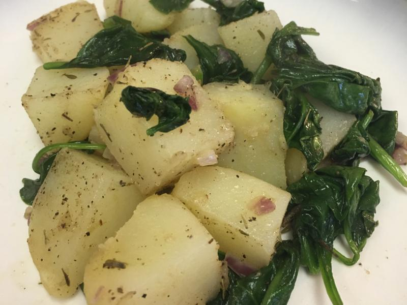 Potato Hash with Spinach Healthy Recipe