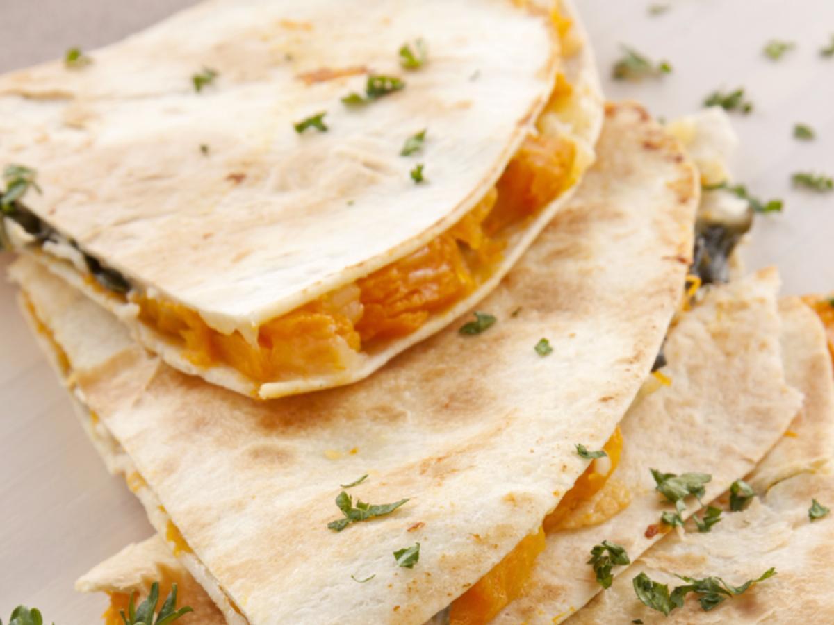 Pumpkin, Apple & Caramelized Onion Vegan Quesadilla Healthy Recipe
