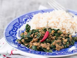 Quick Coconut Curry Lentils with Greens Healthy Recipe
