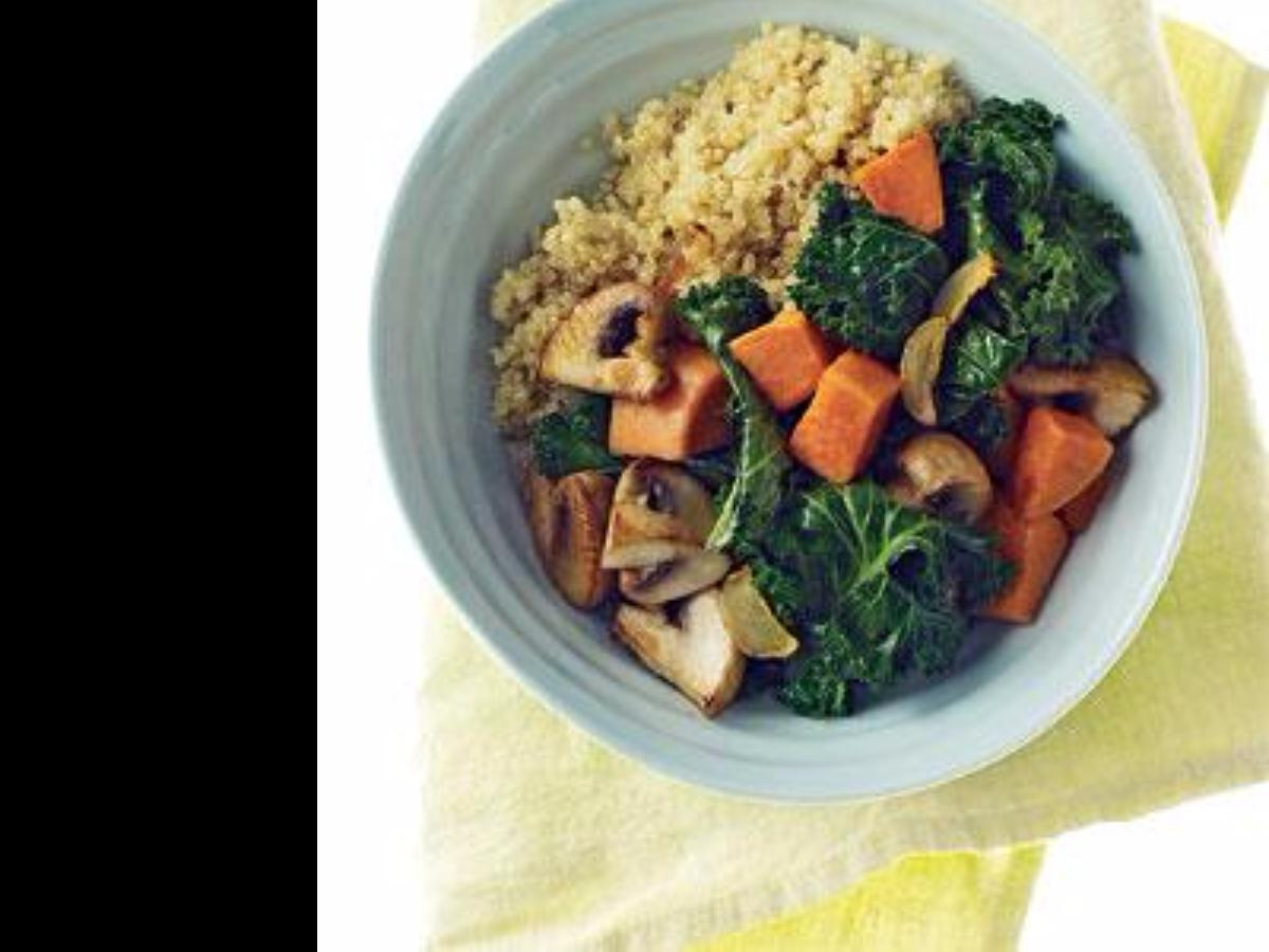 Quinoa with Mushrooms, Spinach, and Sweet Potatoes Healthy Recipe