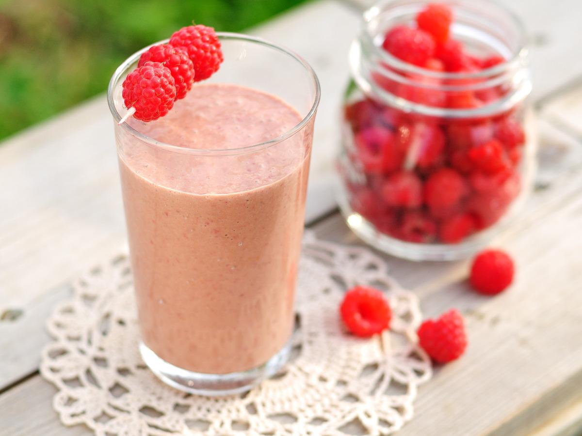 Raspberry Peanut Butter Protein Smoothie Healthy Recipe
