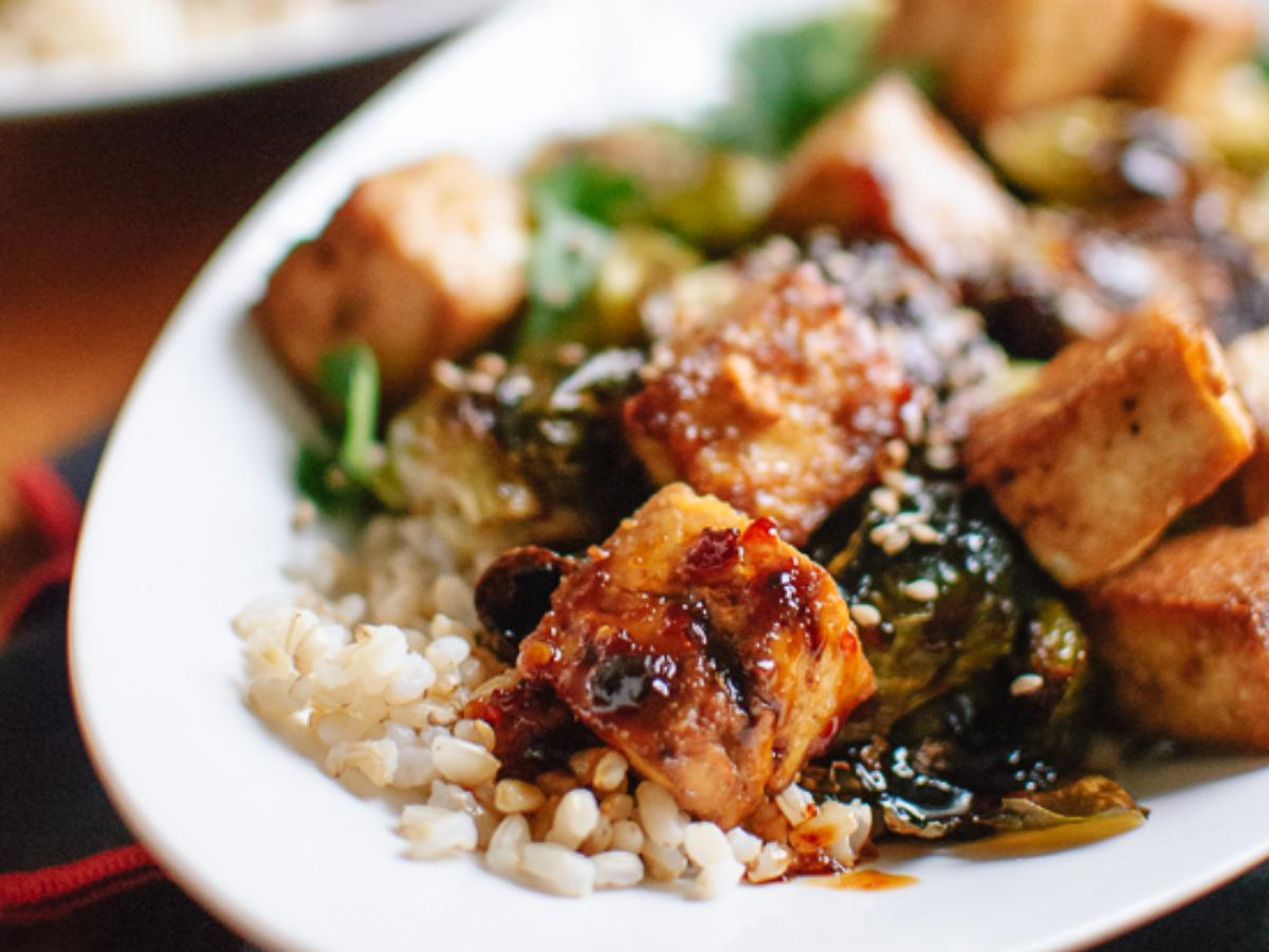 Roasted Brussels Sprouts and Crispy Baked Tofu with Honey-Sesame Glaze Healthy Recipe