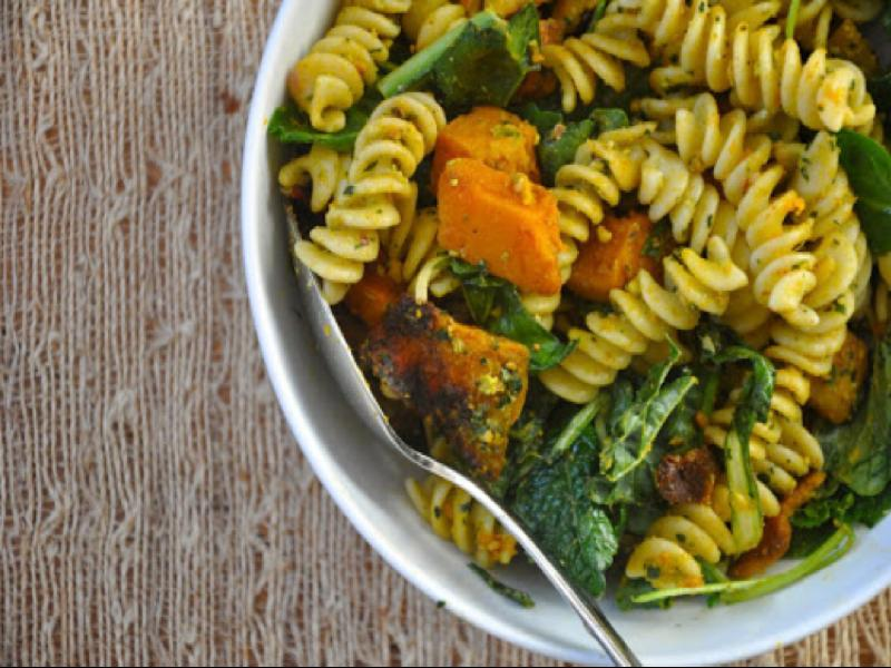 Roasted Butternut Pasta with Pistachio Pesto Healthy Recipe