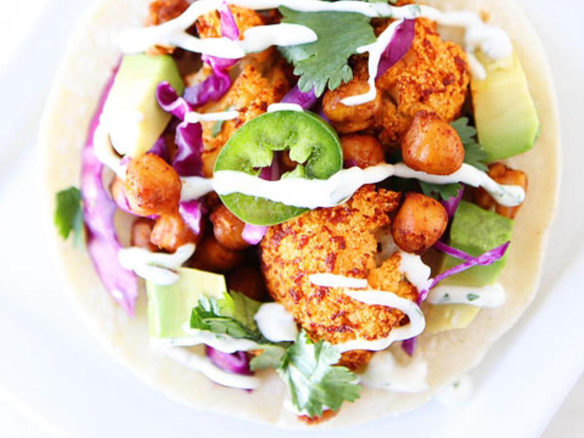 Roasted Cauliflower and Chickpea Tacos Healthy Recipe