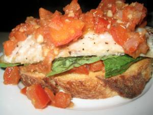 Roasted Cod on Large Garlic Croutons Healthy Recipe