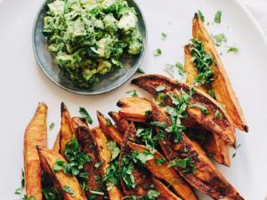 Roasted Sweet Potato Wedges with Avocado Chimichurri Healthy Recipe