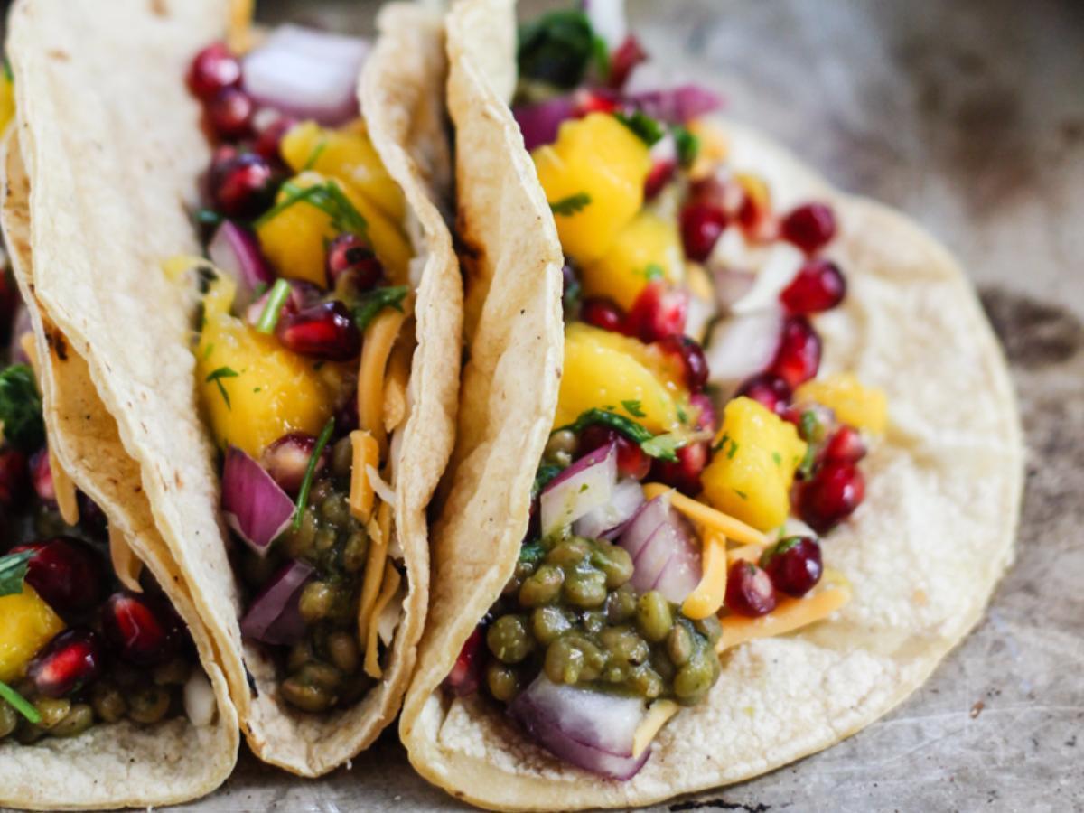 Salsa Verde Lentil Tacos with Mango-Pomegranate Pico Healthy Recipe