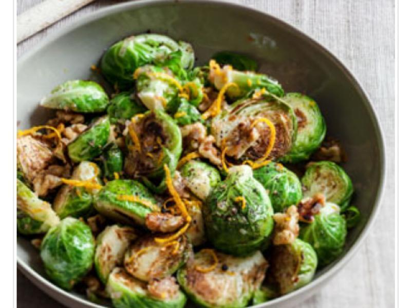 Sautéed Brussels Sprouts with Orange and Walnuts  Healthy Recipe