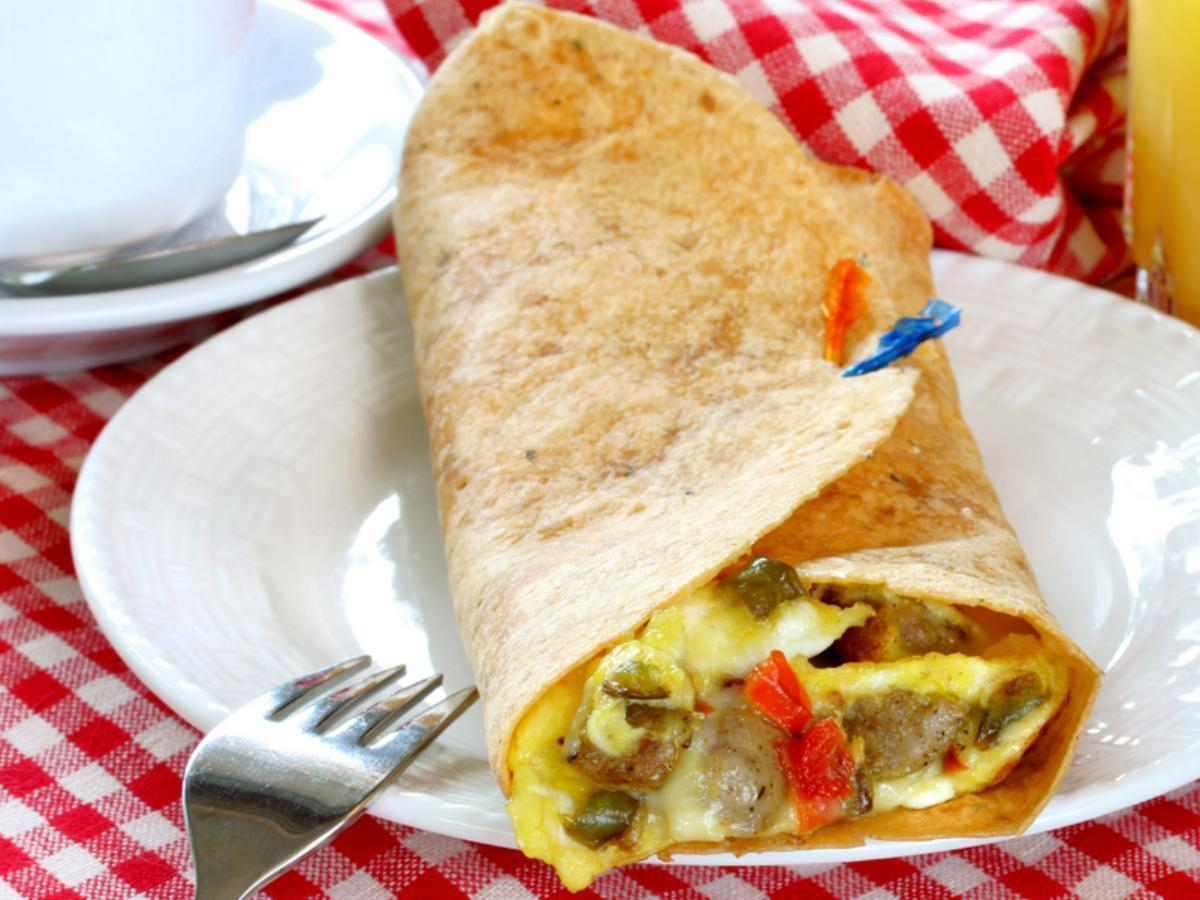 Scrambled Eggs and Sausage Wrap Healthy Recipe