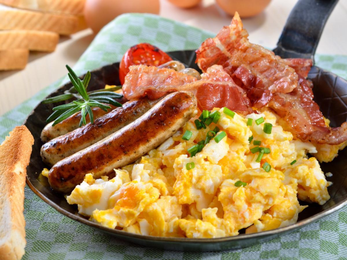 Scrambled Eggs on Toast with Bacon and Sausage Healthy Recipe