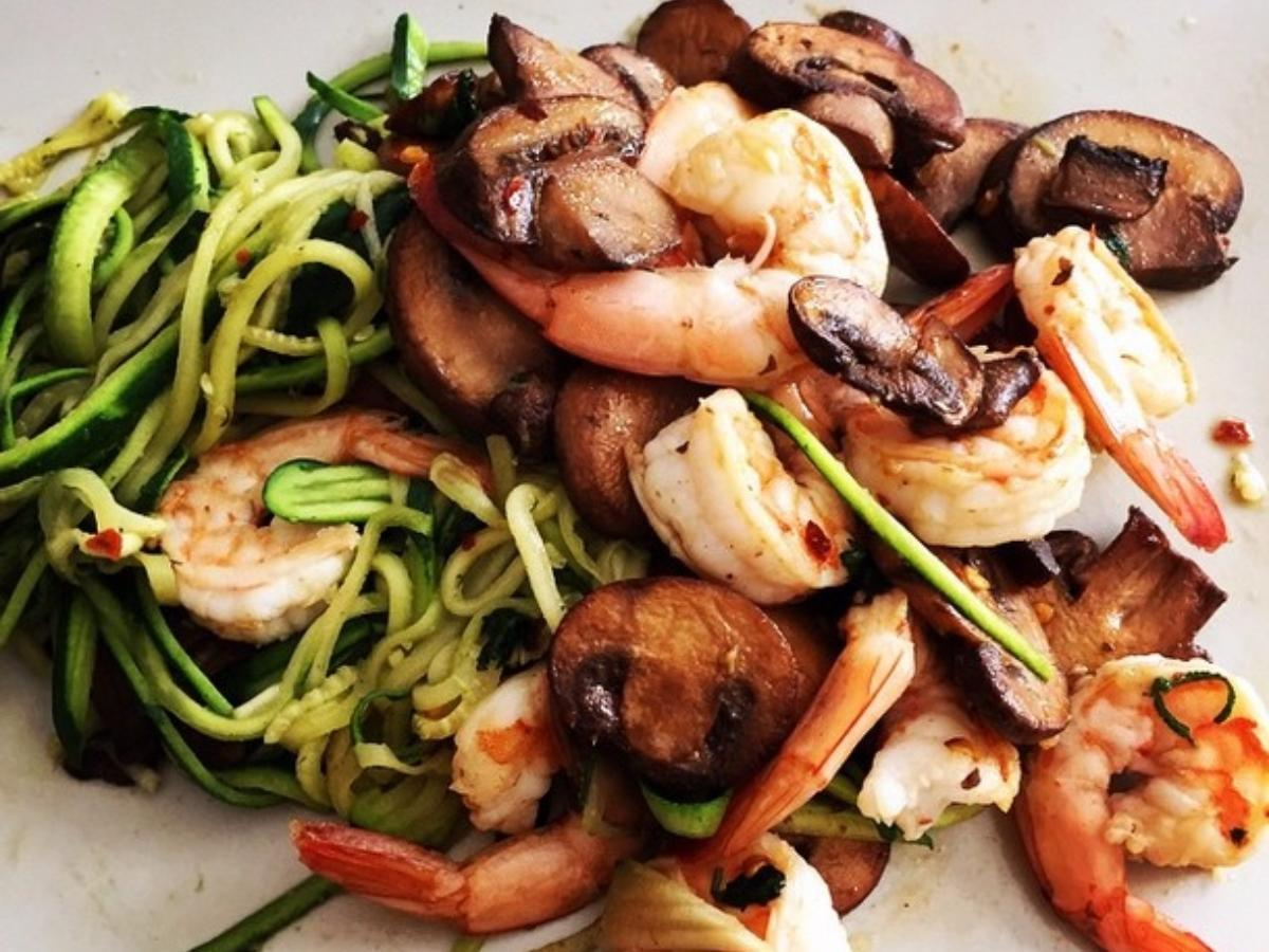 Shrimp and Mushroom Zoodles Healthy Recipe