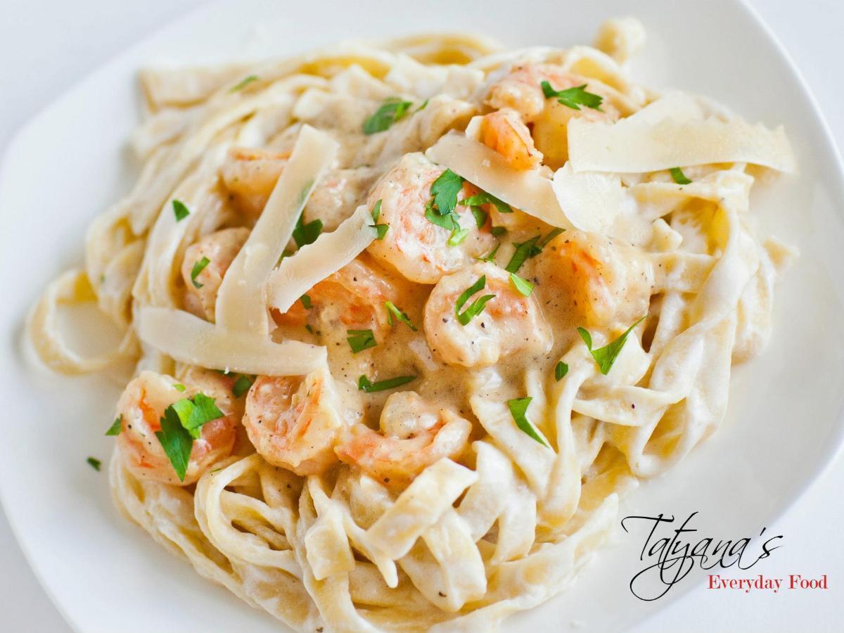 Shrimp Fettuccine Alfredo Healthy Recipe