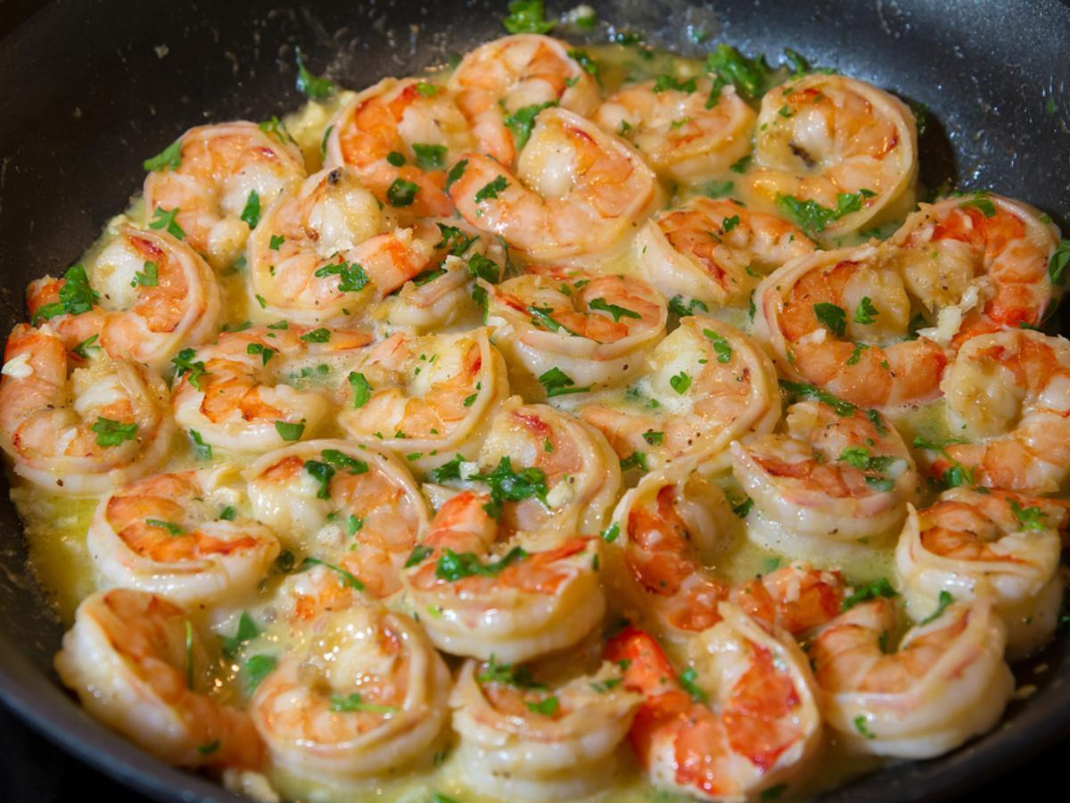 Shrimp with Basil-Garlic Butter Healthy Recipe