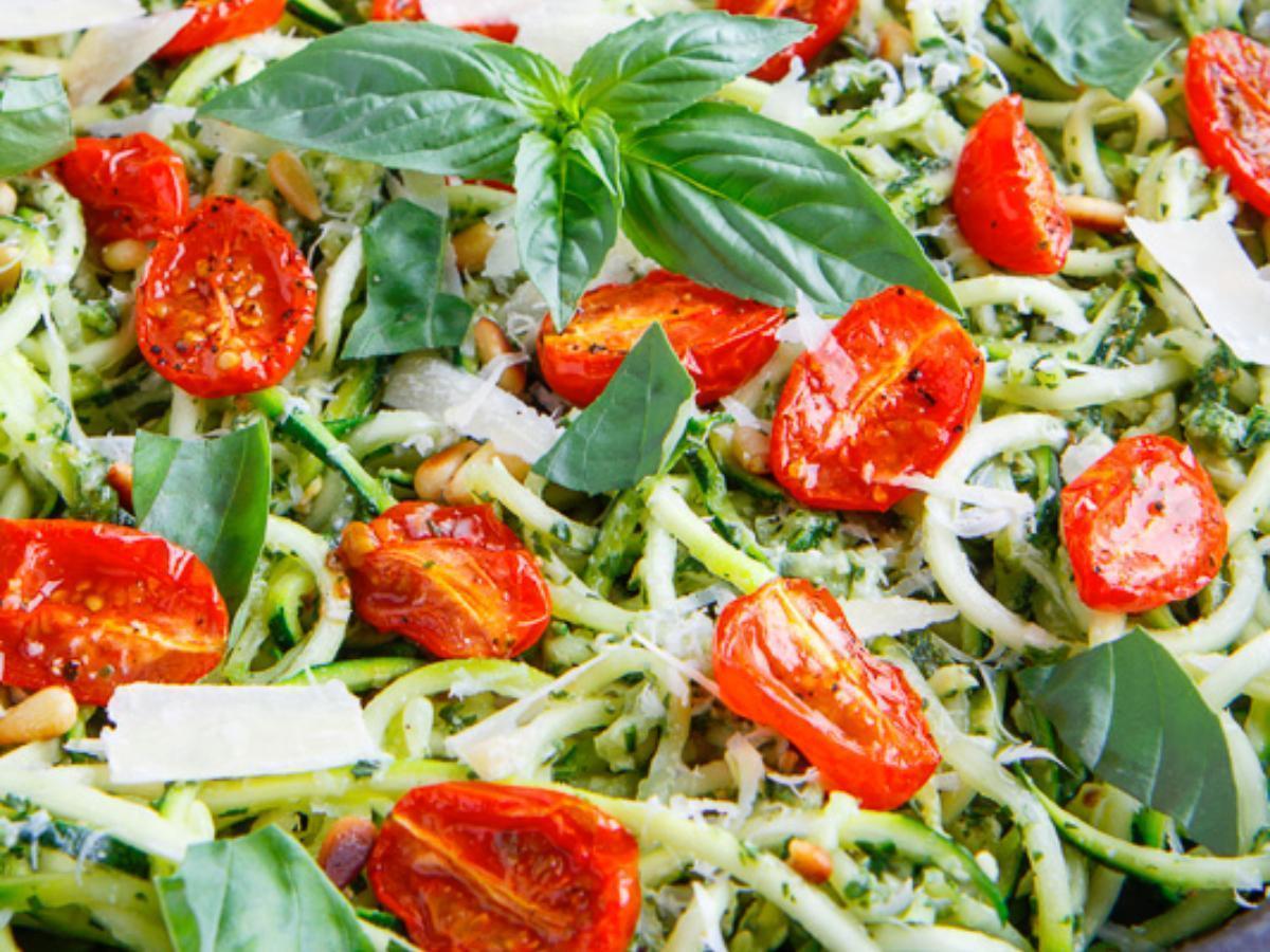 Skinny Pesto and Chicken Noodles Healthy Recipe