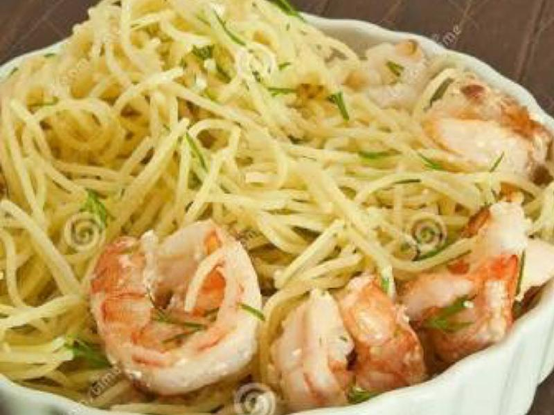 Spaghetti With Shrimp, Feta, and Dill Healthy Recipe