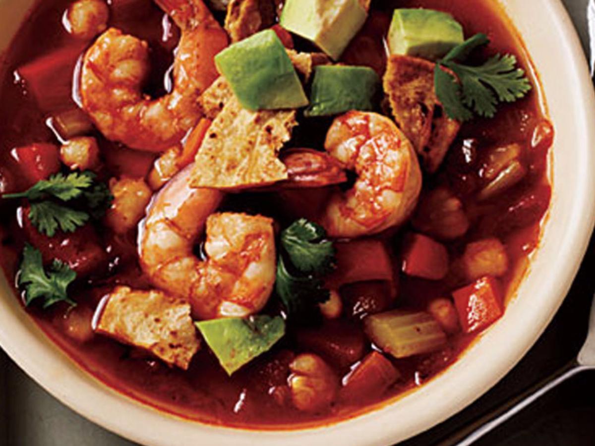 Spicy Tortilla Soup with Shrimp and Avocado Healthy Recipe