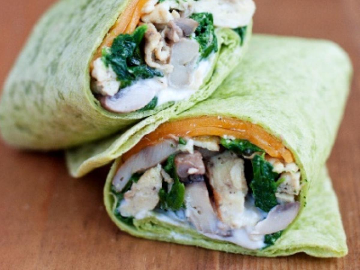 Spinach and Mushroom Wrap Healthy Recipe