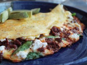 Spinach, Goat Cheese, and Chorizo Omelet Healthy Recipe