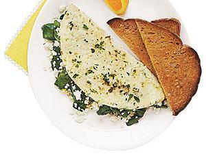 Spinach, Onion, Mushroom, and Bell Pepper Egg White Omelet Healthy Recipe