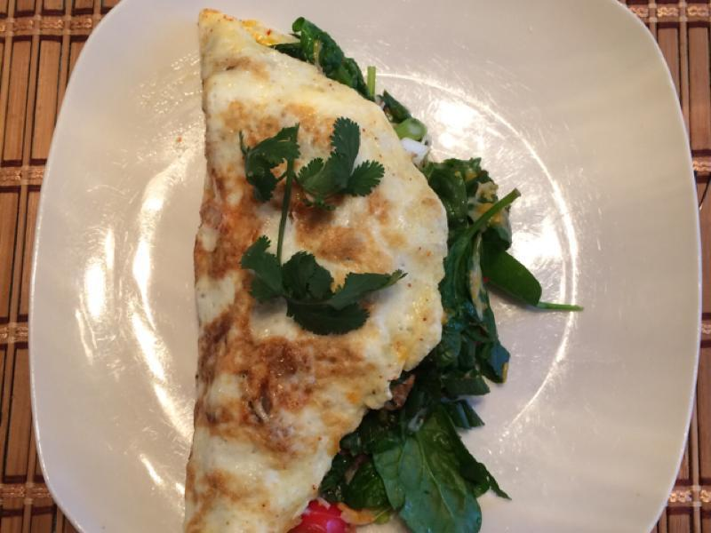 Spinach, Swiss, and Egg White Omelet Healthy Recipe