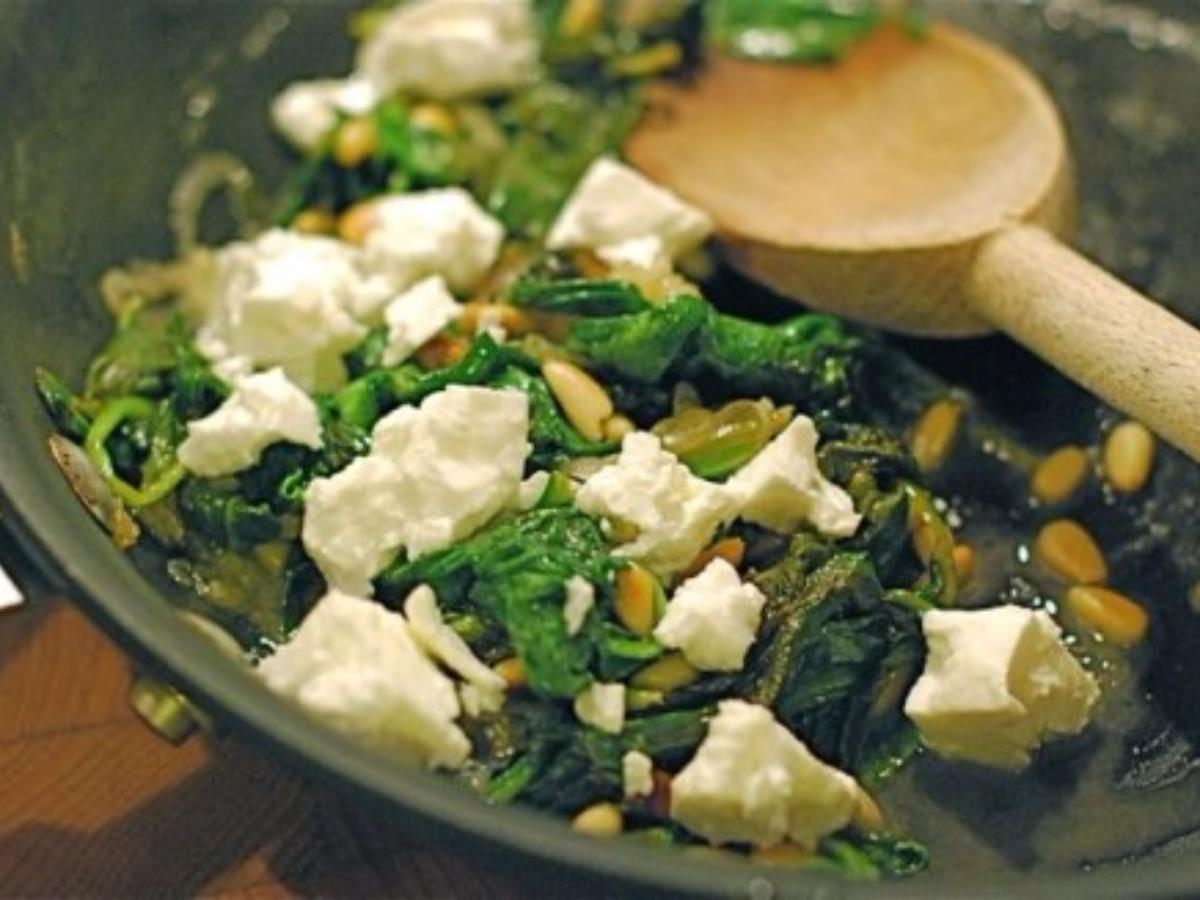 Spinach with Feta & Pine Nuts Healthy Recipe