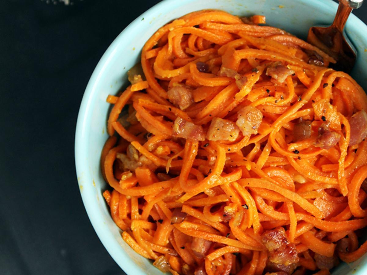 Spiralized Sweet Potato Carbonara  Healthy Recipe