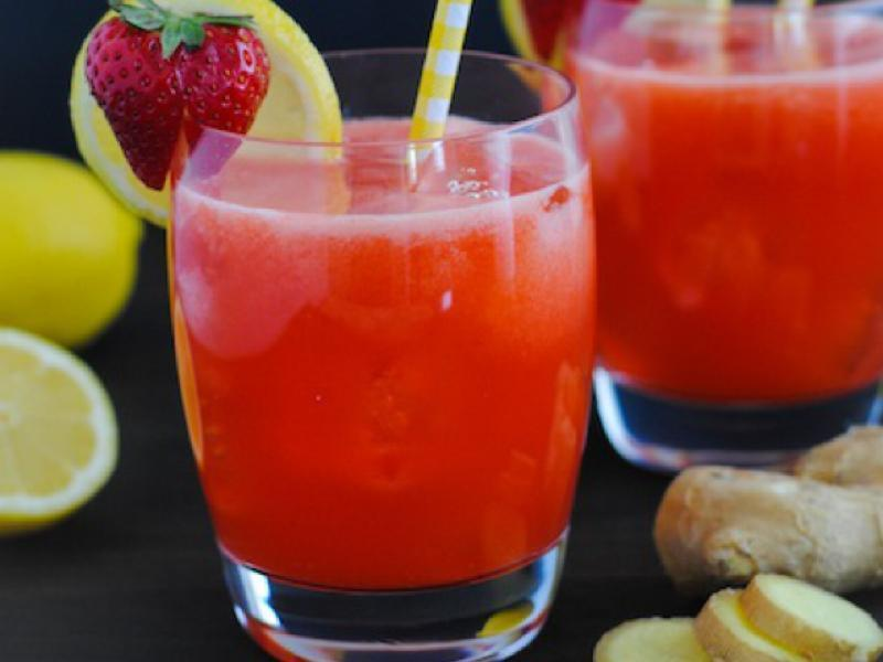 Srawberry, Lemon ,and Ginger Shot Healthy Recipe