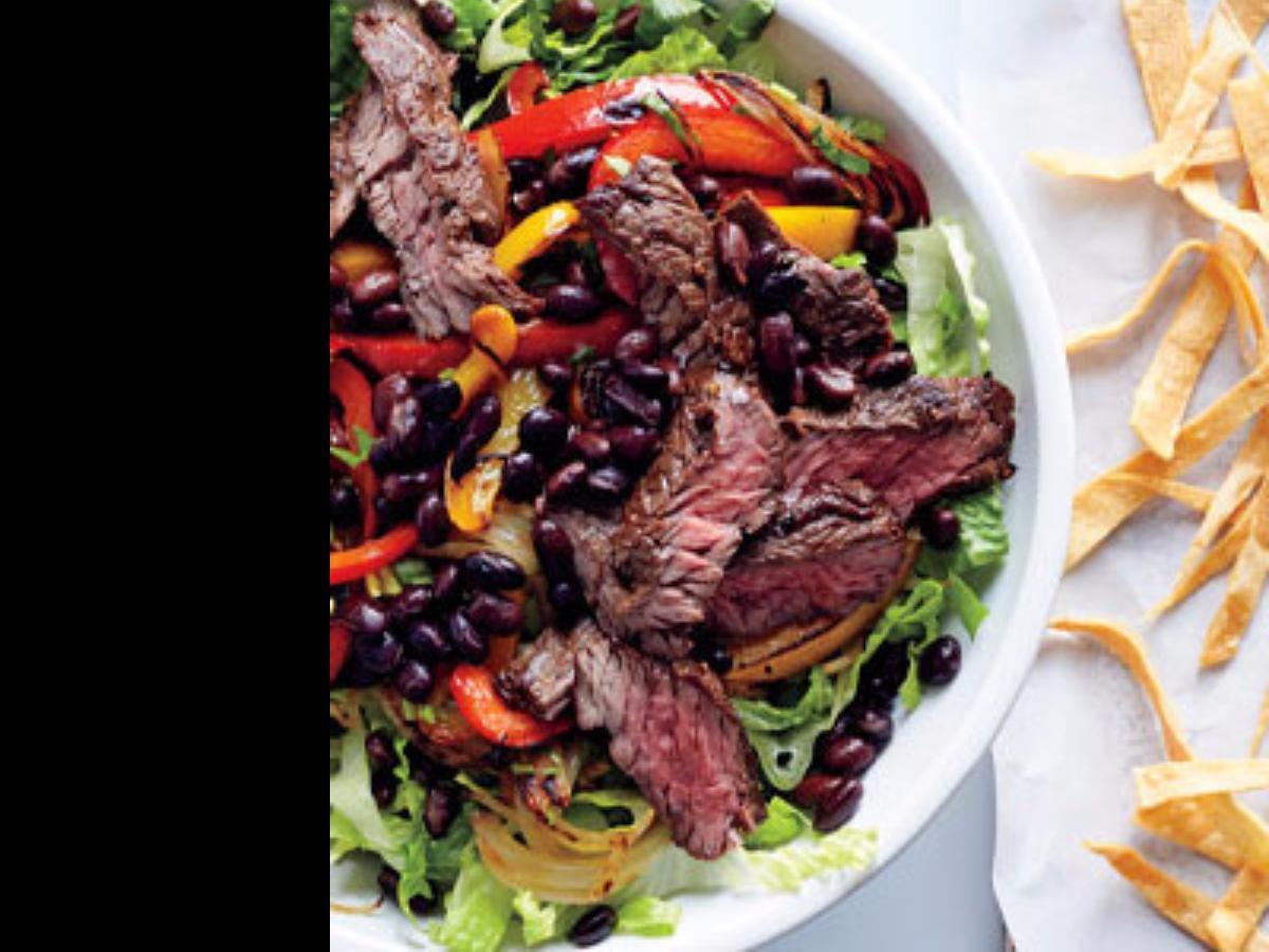 Steak Fajita Salad with Tortilla Croutons Healthy Recipe