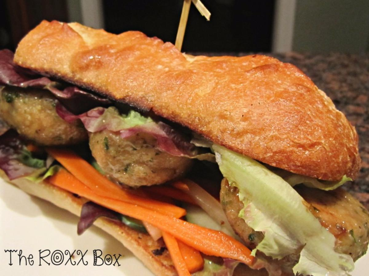 Sugar Glazed Chicken Meatball Sandwich on French Bread  Healthy Recipe