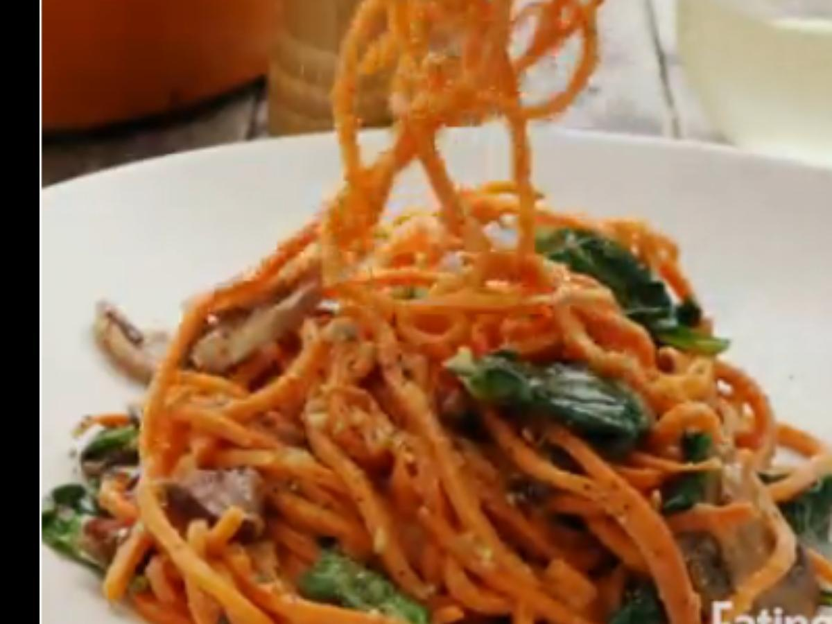Sweet Potato Carbonara with Spinach & Mushrooms Healthy Recipe