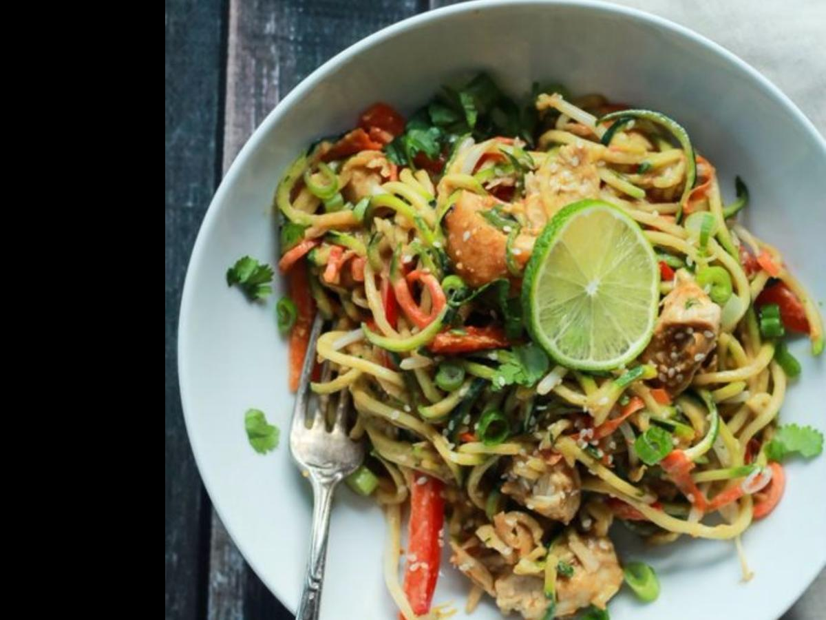 Thai Chicken and Zucchini Noodles Healthy Recipe