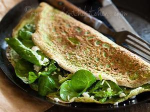 Thin Green Spinach and Herb Omelet Healthy Recipe