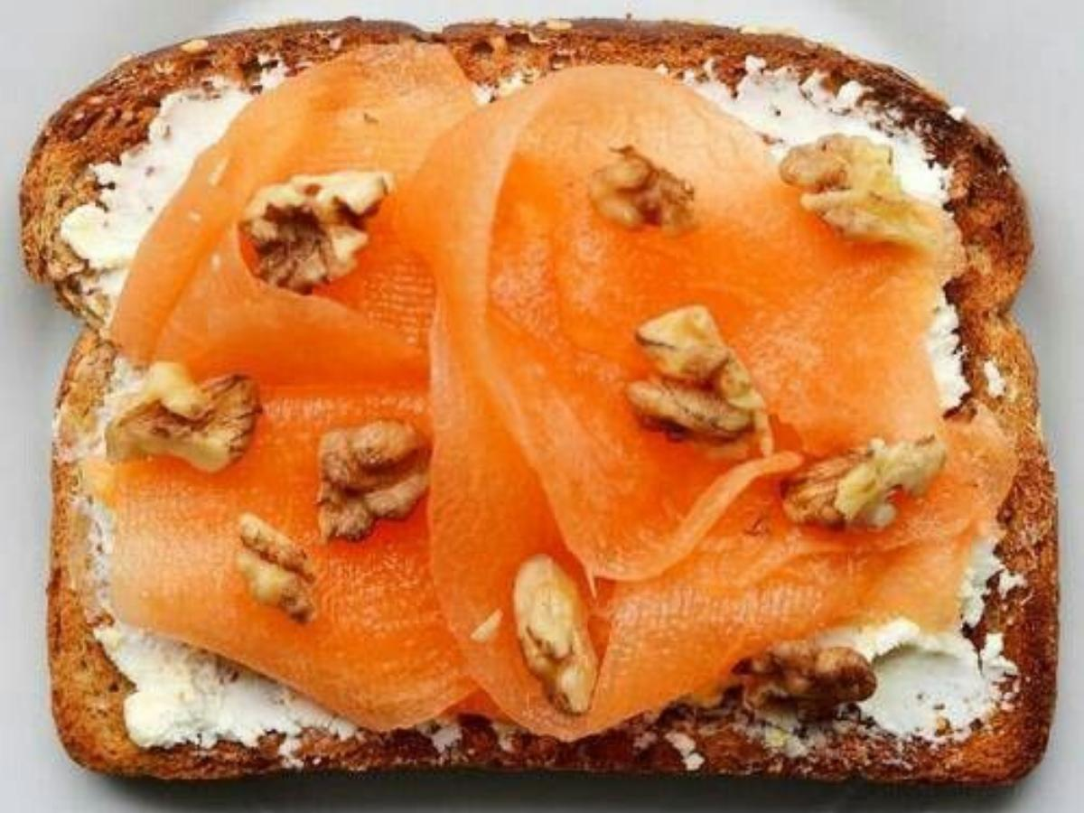 Toast with Cantaloupe, Walnuts, Agave & Goat Cheese Healthy Recipe