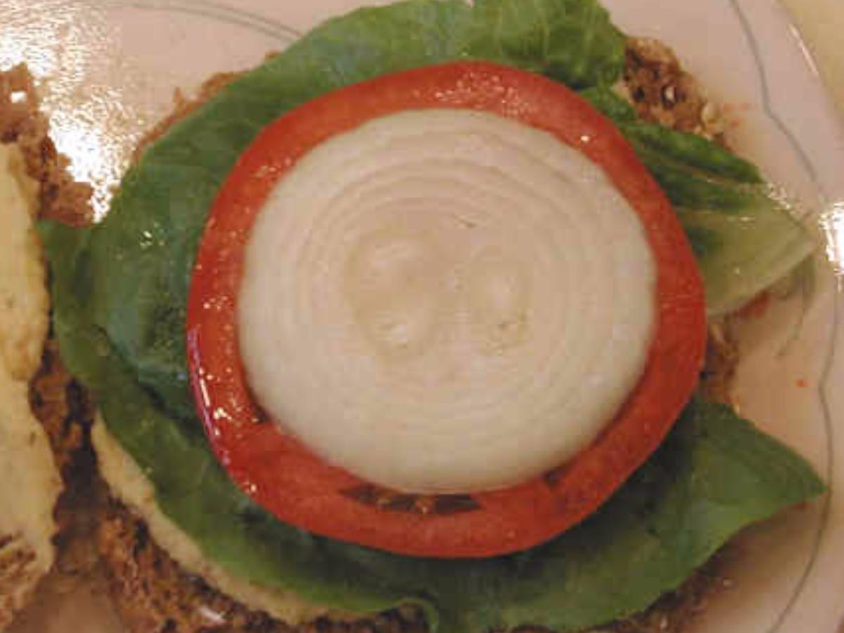 Toast with Tomato, Onion, & Hummus Healthy Recipe