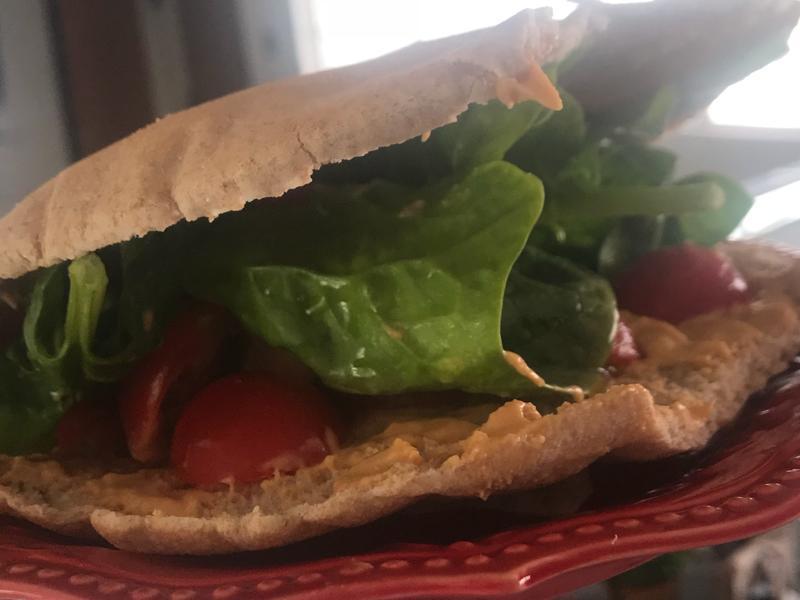 Tomato and Hummus Pocket Sandwich Healthy Recipe