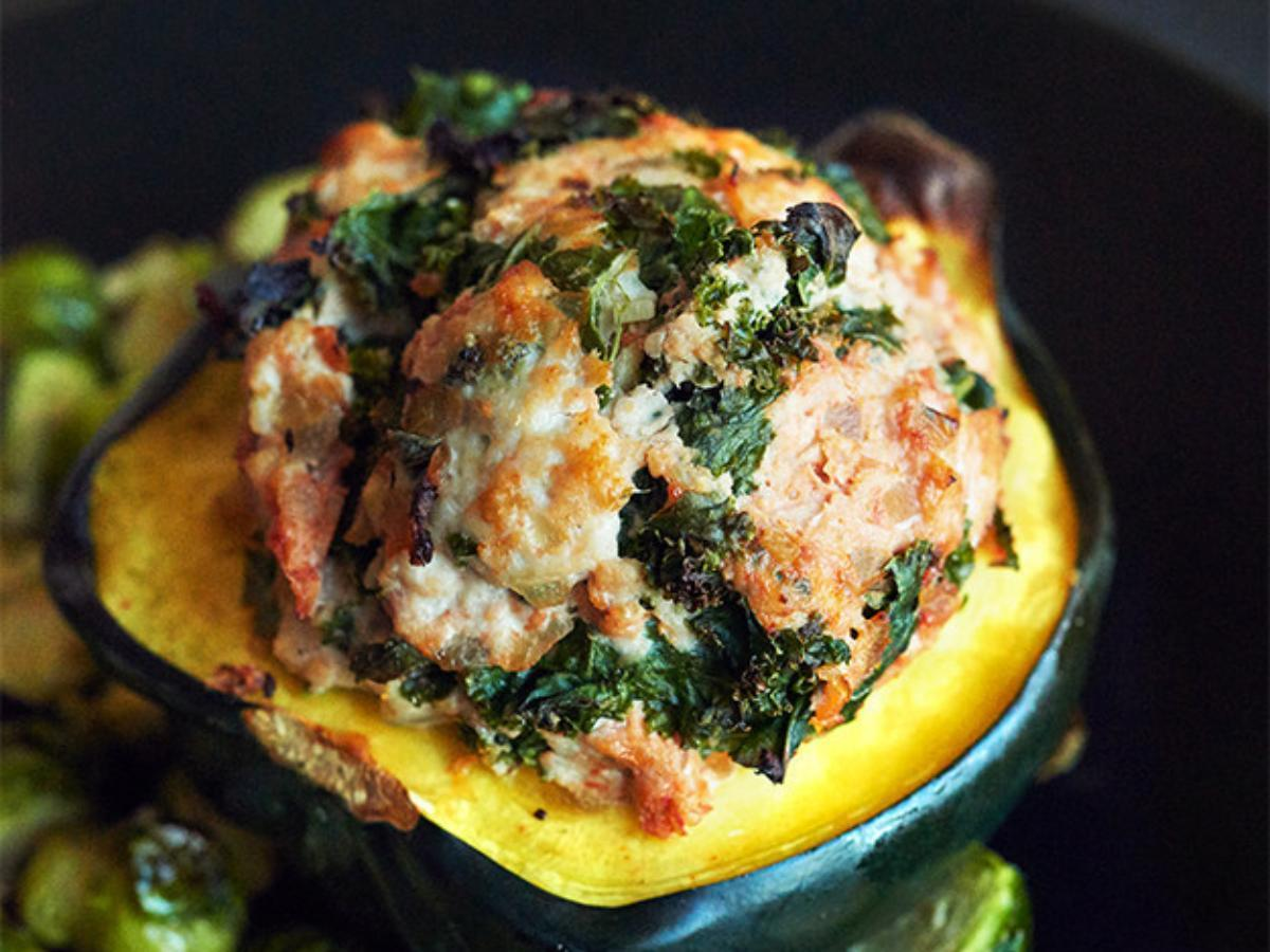 Turkey and Sage Stuffed Acorn Squash with Roasted Brussel Sprouts Healthy Recipe
